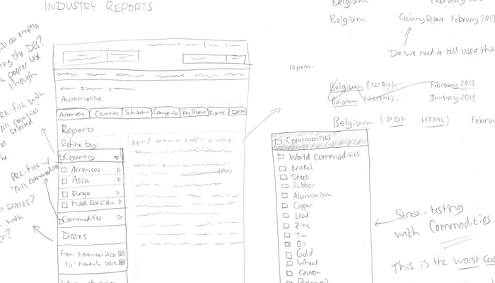 Sketches of wireframes